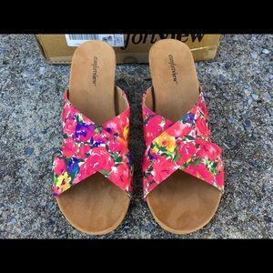 NIB ComfortView Floral Cork Wedge Sandals Size 12